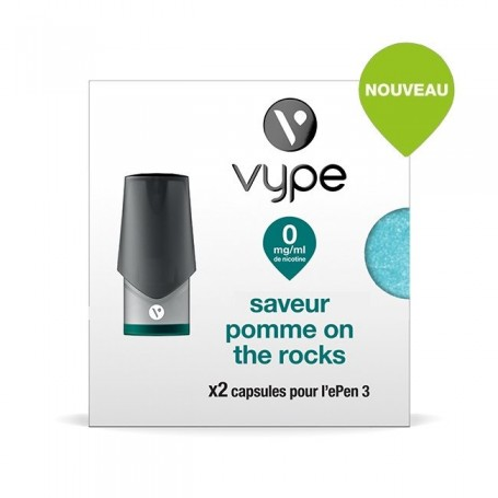 2 x Capsules Vype ePen 3 Saveur Pomme on the Rocks 0 mg